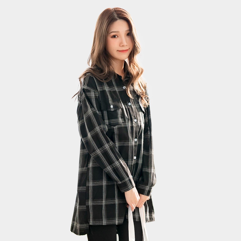 大尺碼襯衫--經典撞色格紋排扣前短後長開衩寬鬆長版襯衫(白.黑XL-3L)-I130眼圈熊中大尺碼 0