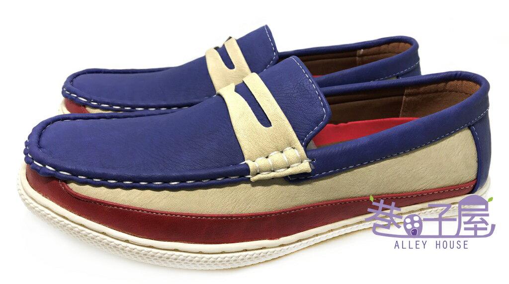 【巷子屋】DARK KNIGHT 男款奶油拼色懶人休閒鞋 [99011] 藍 超值價$398+免運
