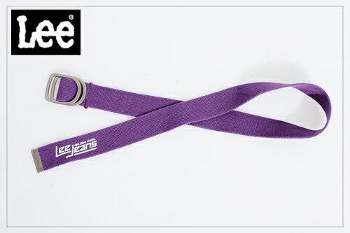 Lee 街頭風格 素面亮色雙扣環針織帶-男款(紫)