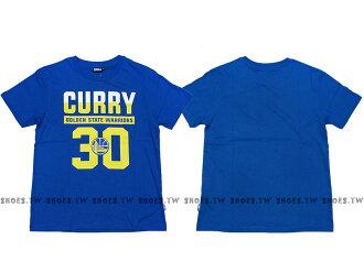 《五折》Shoestw【8730257-023】NBA T恤 棉 金州 勇士隊 CURRY 30號 點點號碼 藍色