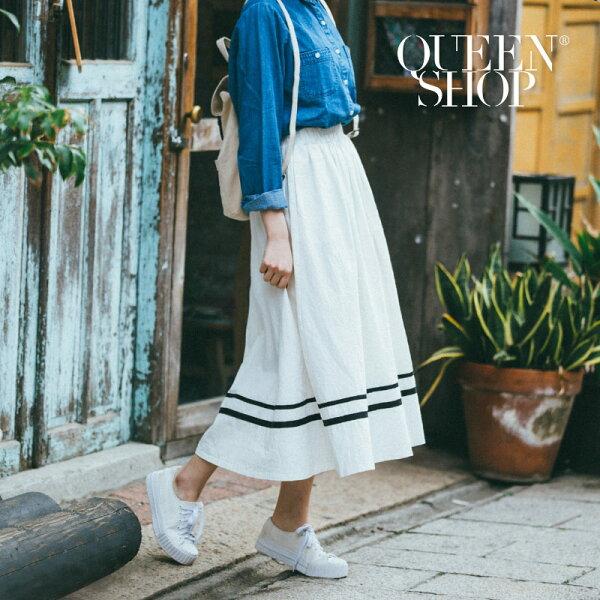 QueenShop【03020356】配色織條下擺造型A字裙兩色售*預購*
