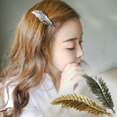 韓系飾品 復古金屬羽毛樹葉髮夾彈簧夾 2色【AA-6039】