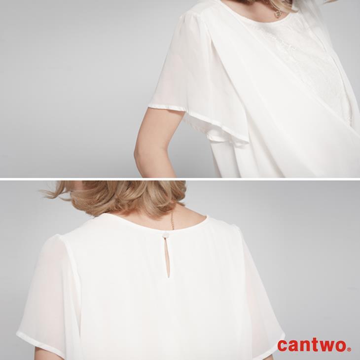 cantwo雪紡蕾絲假兩件上衣(共二色) 4