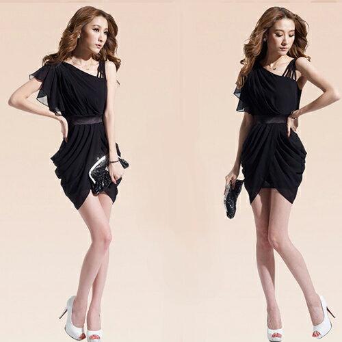 短洋裝-斜肩捲摺裙擺荷葉袖雪紡洋裝【29055】藍色巴黎《2色》現貨+預購 2