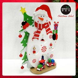 【摩達客】 繽紛耶誕創意DIY小擺飾木質大雪人組(白色款)-聖誕禮物擺飾YS-CTD018014