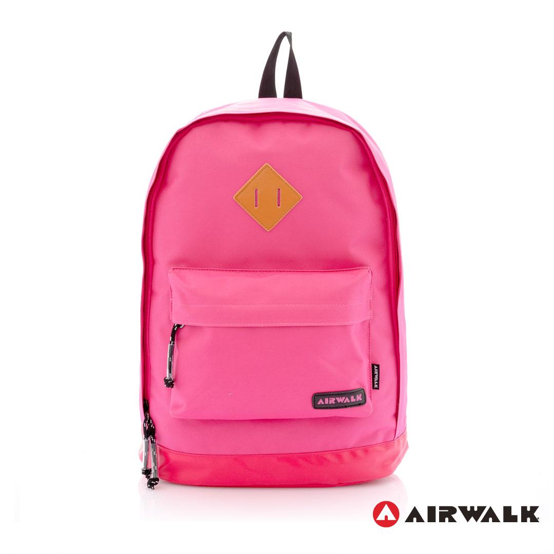 AIRWALK街頭系列-古著布紋 簡單多彩豬鼻系列 筆電後背包(A331320342桃紅)