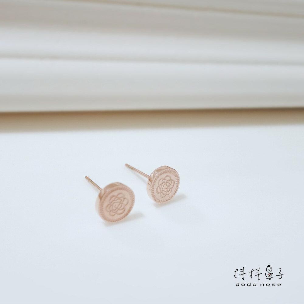 奢華雕刻玫瑰金耳環 2