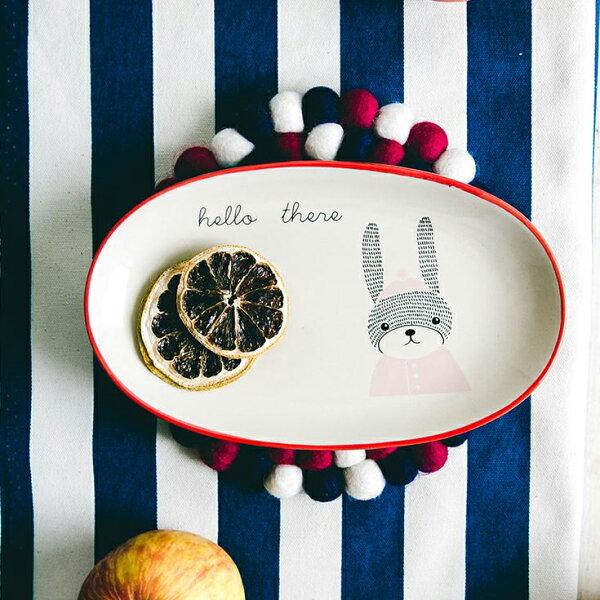 丹麥森林橢圓瓷盤(毛線兔)