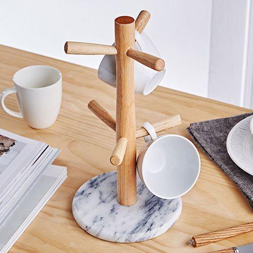 天然大理石杯架【簡約白】馬克杯咖啡杯居家裝飾