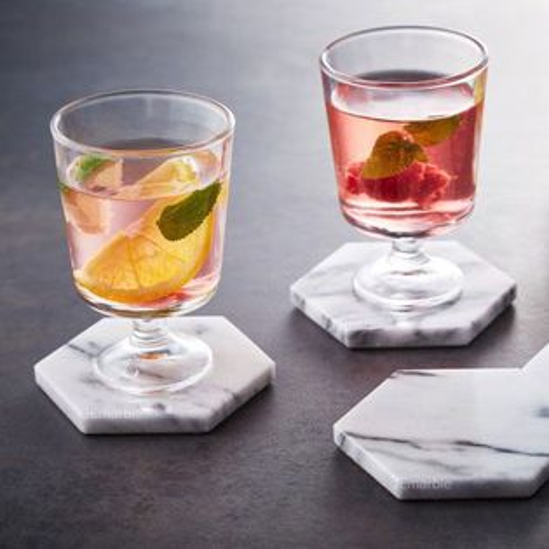 喜鵲先生1號店:大理石六角杯墊4入組附上精品盒