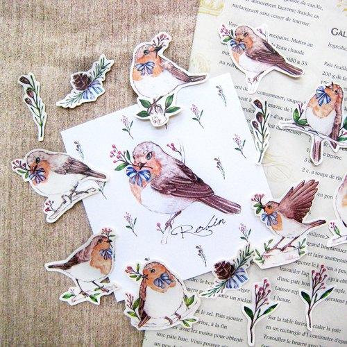 知更鳥的祝福手剪貼紙組