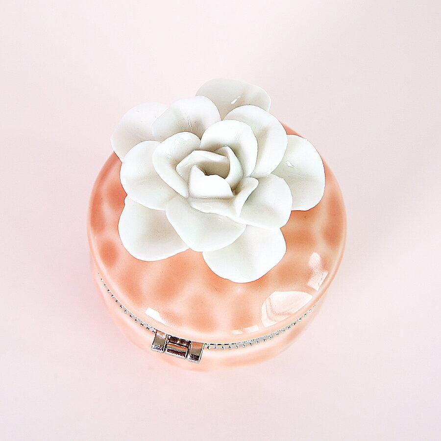 玫瑰雕花首飾盒  煙燻粉杏M
