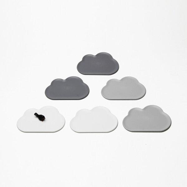 喜鵲先生1號店:朵朵雲兒杯墊(6入)(白灰)