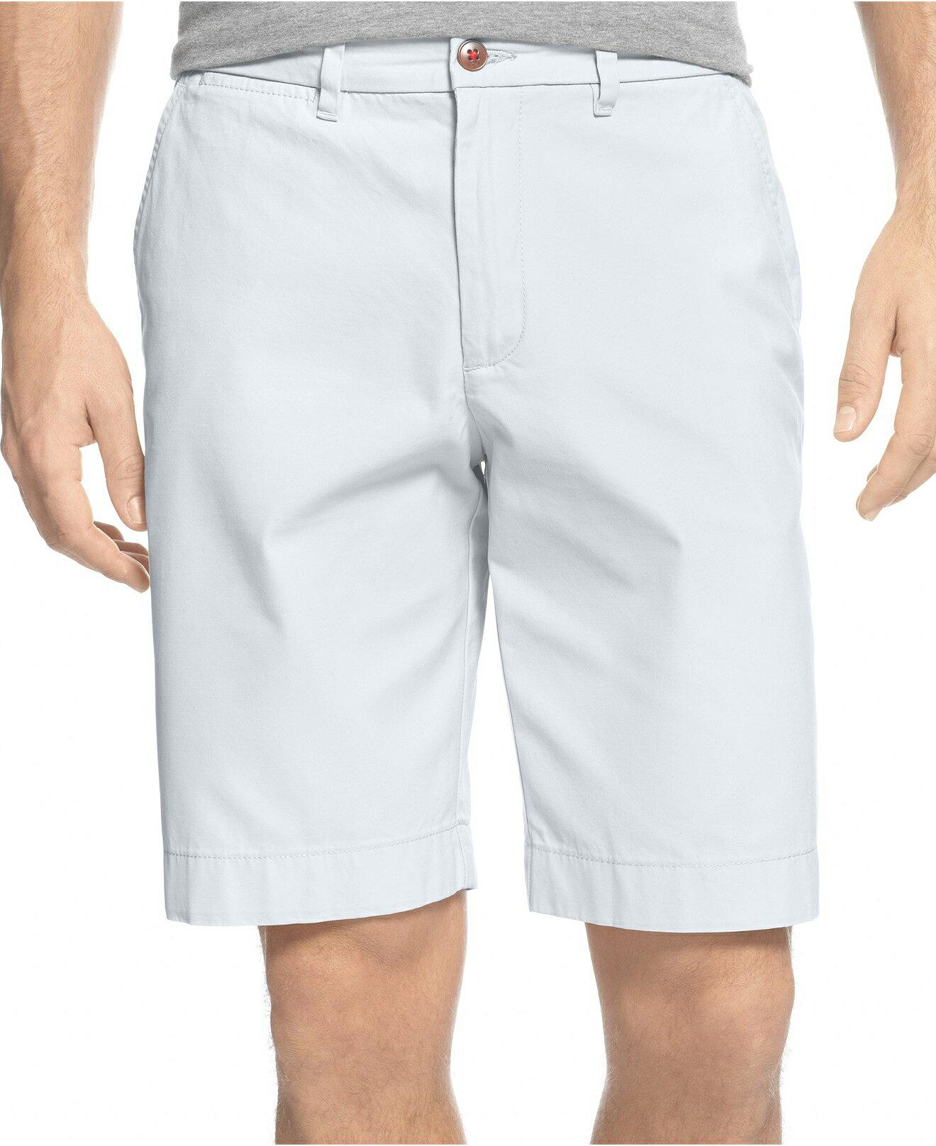 美國百分百【Tommy Hilfiger】短褲 TH 休閒褲 百慕達褲 五分褲 白色 男 大尺碼 多尺碼 F136