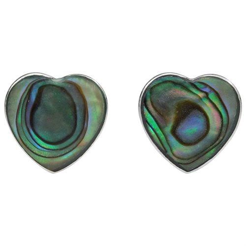 Cute Inlay Abalone Heart .925 Silver Stud Earrings 0