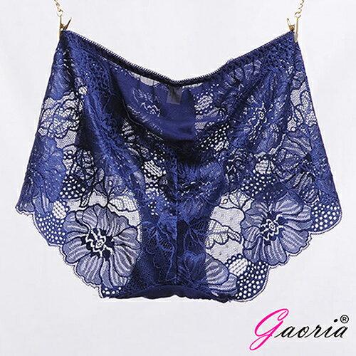情趣用品-買就送潤滑液隨身包【Gaoria】性感蜜臀蕾絲網紗性感情趣三角內褲深藍色T-046