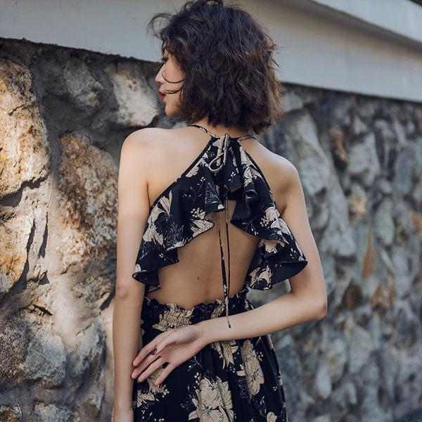 PS Mall 復古大擺連身裙 露背吊帶沙灘裙渡假風長裙 洋裝【T026】 1