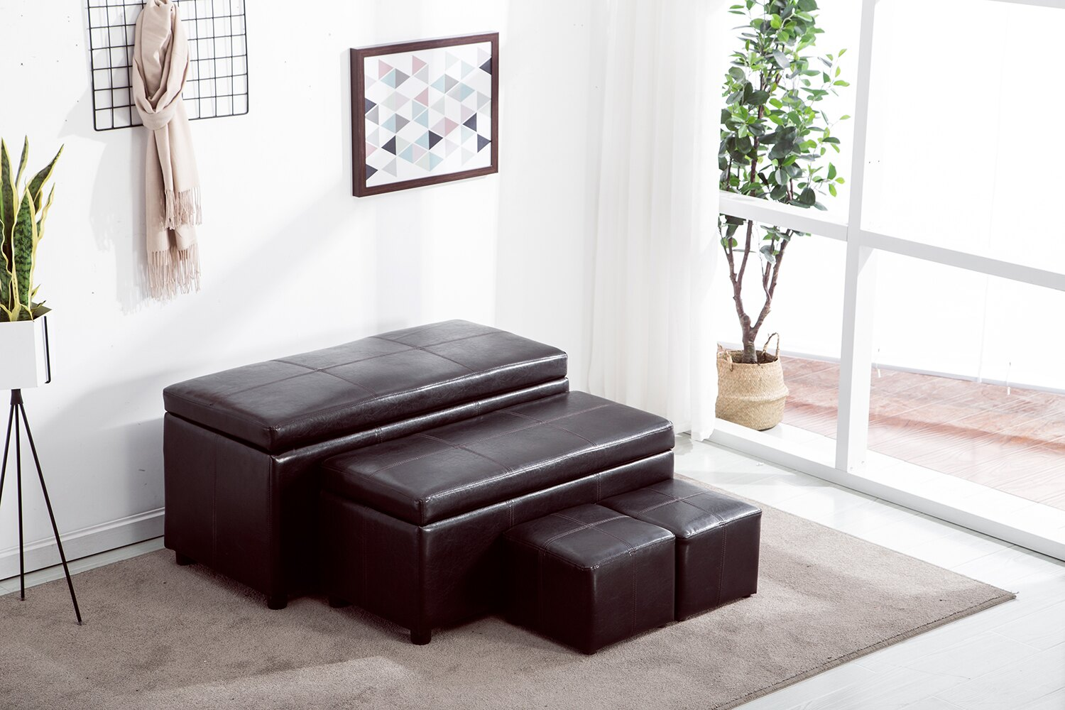 Mcombo 4pc Folding Faux Leather Homelegance Storage Ottoman Shoe Bench Foot Rest 5