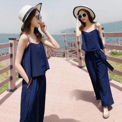 韓系女裝高腰雪紡休閒褲+V領吊帶背心兩件套套裝樂天時尚館。預購