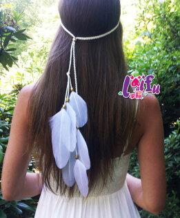 草魚妹:★草魚妹★H729髮飾波西米亞印地安民族風嘻皮羽毛表演髮飾髮帶髮圈髮箍頭飾,售價150元
