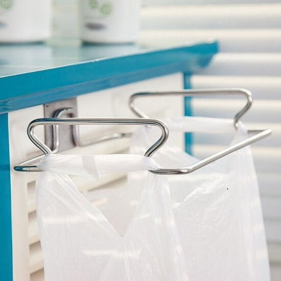 ♚MY COLOR♚不鏽鋼垃圾袋掛架 廚房 多功能 毛巾 掛鉤 懸掛 瀝乾 掛袋 垃圾 廚餘 分類【T27】