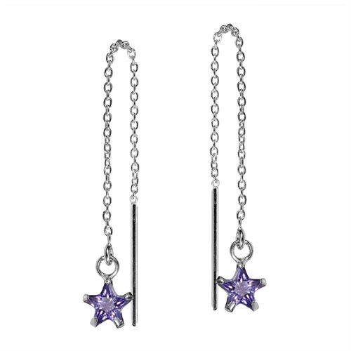 Purple Cubic Zirconia Star Thread Slide Sterling Silver Earrings 0