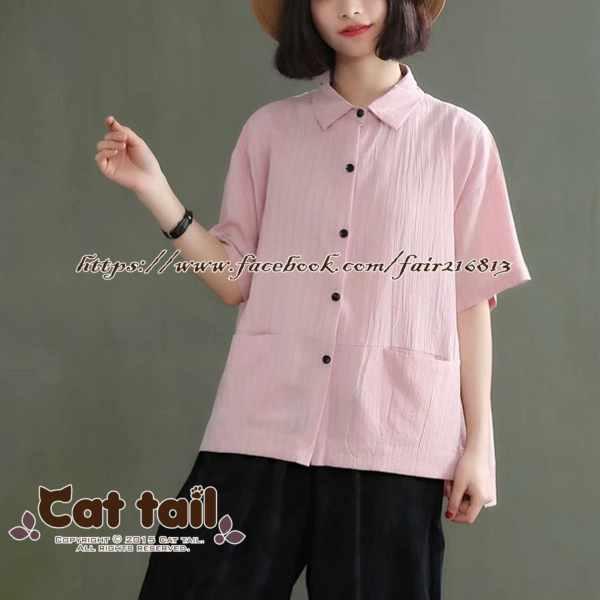 《貓尾巴》CH-01933韓版休閒純色短袖襯衫(森林系日系棉麻文青清新)