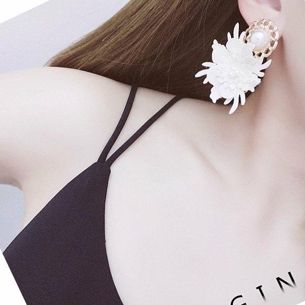 耳環多層花朵珍珠宮廷風氣質耳釘耳環【DD1803021】BOBI0524