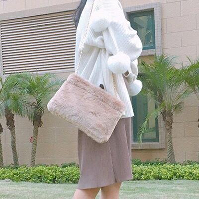 肩背包毛絨斜背包-韓版時尚優雅鏈條女包包73so22【獨家進口】【米蘭精品】