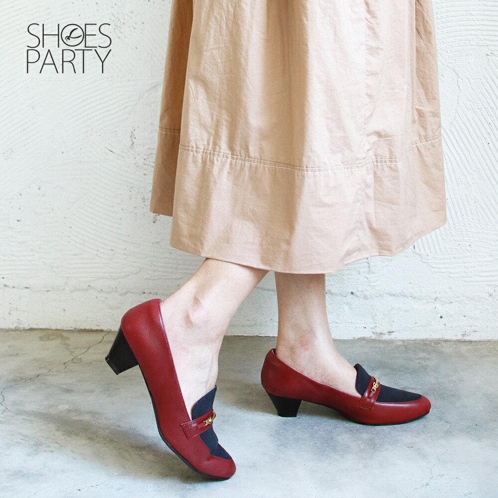 【P2-19131L】飾扣真皮樂福跟鞋_Shoes Party 1