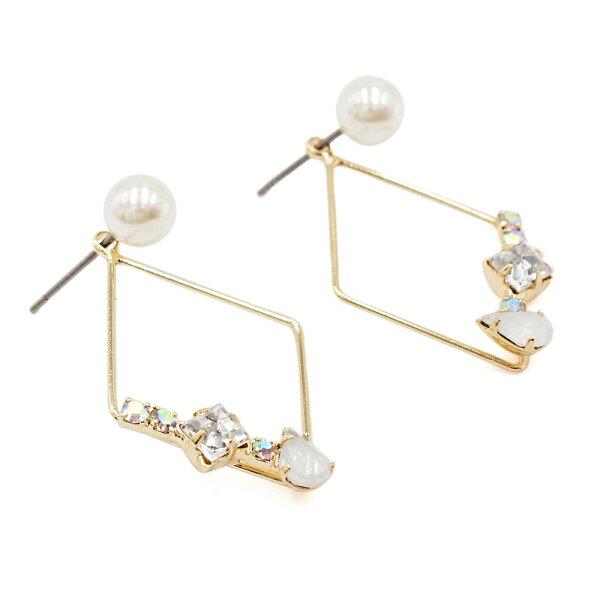〔APM飾品〕日本Zoule美鑽珍珠優雅菱形耳環(白鑽款)(粉鑽款)(藍鑽款)(抗過敏)