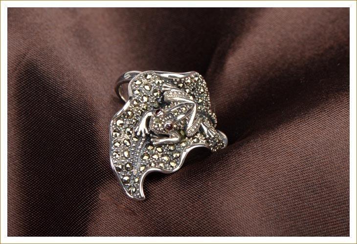 銀馬克賽戒指環 銀 動物樹葉青蛙 個性戒指女
