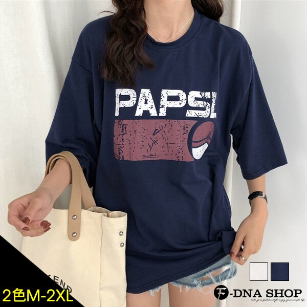 F-DNA★PAPSL拓印英文印字圓領五分袖上衣T恤(2色-M-2XL)【ET12705】 0