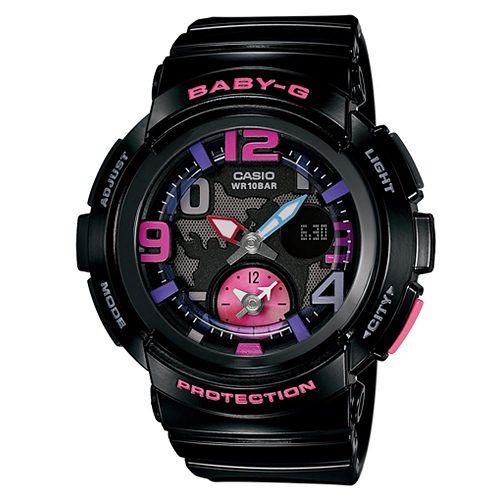 CASIO BABY-G BGA-190-1B海灘旅行雙顯流行腕錶/黑44mm