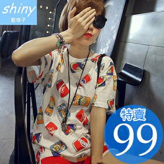 【D877】shiny藍格子-嘻哈彩色.亮彩易拉罐印花寬鬆短袖T恤