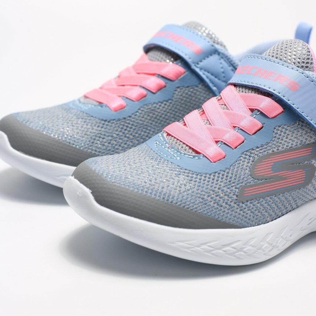 SKECHERS GO RUN 600 藍紫 亮粉 螢光粉 緞帶 休閒鞋 中童 (布魯克林) 82050LGYMT