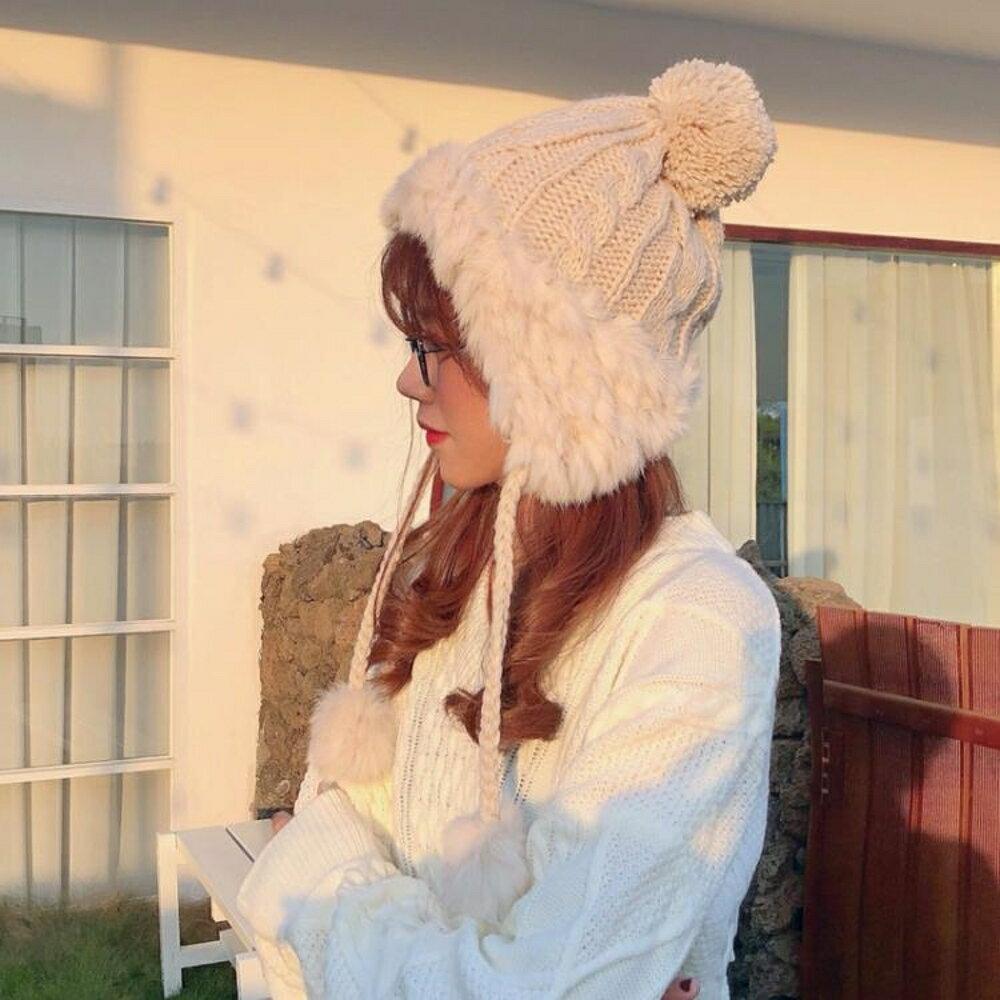 毛帽女 韓版可愛毛線帽女秋冬雷鋒帽子護耳保暖毛球兔毛帽INS針織帽【全館82折】