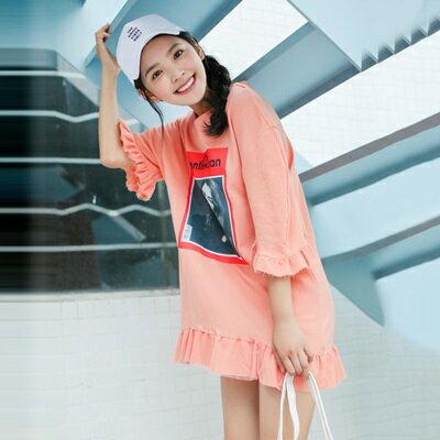 連身裙荷葉邊上衣-韓版時尚印花休閒女連衣裙73rx53【獨家進口】【米蘭精品】