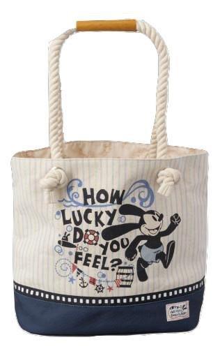 【真愛日本】15062700047 DN限定帆布麻繩提袋-奧斯華條紋藍 迪士尼 幸運兔奧斯華 Oswald 手提袋 收納袋 正品 限量 預購