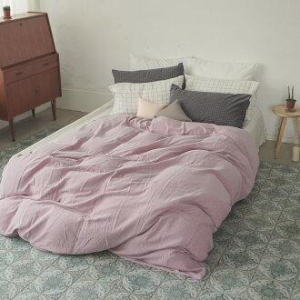 新疆棉薄被套床包組-雙人 / Mix&Match系列【十字淺紫被套x大格白床包】翔仔居家
