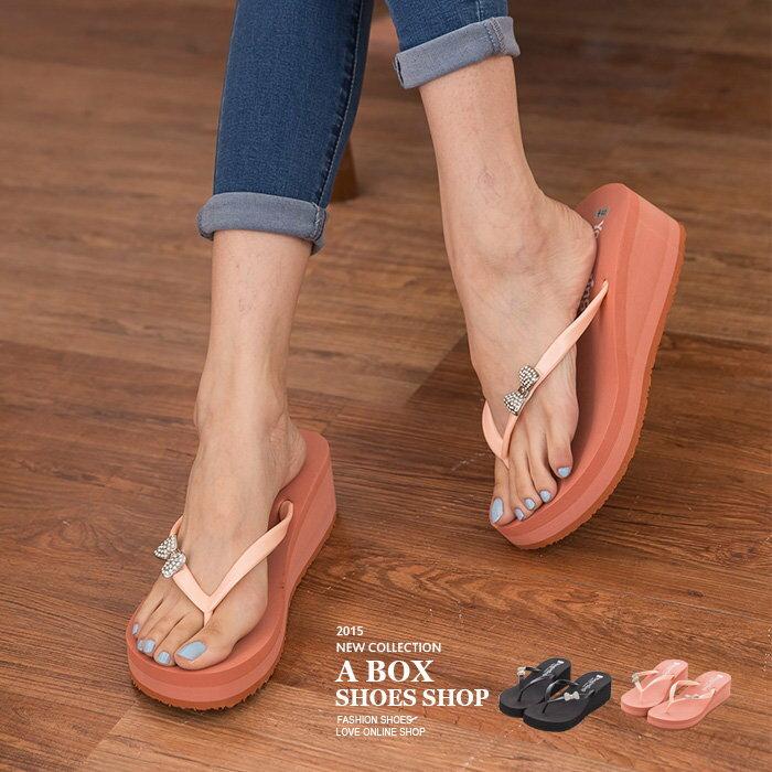 【AW305】MIT 製  水鑽蝴蝶結 厚底楔型夾腳拖鞋 人字拖 2色