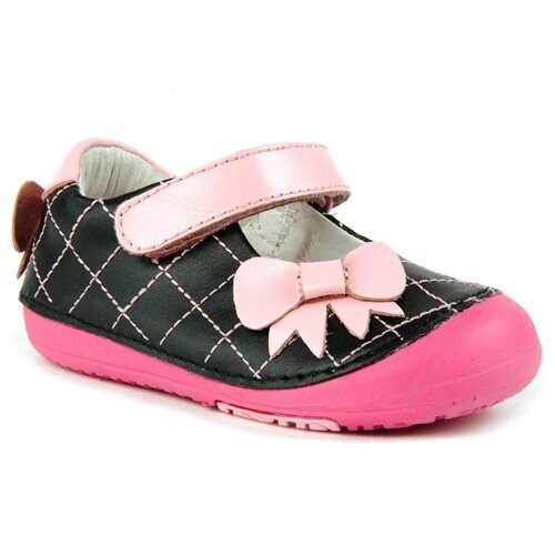 9c3e2c22c Momo Baby Girls Mary Jane Leather Shoes - Quilted Bow Black (First Walker    Toddler