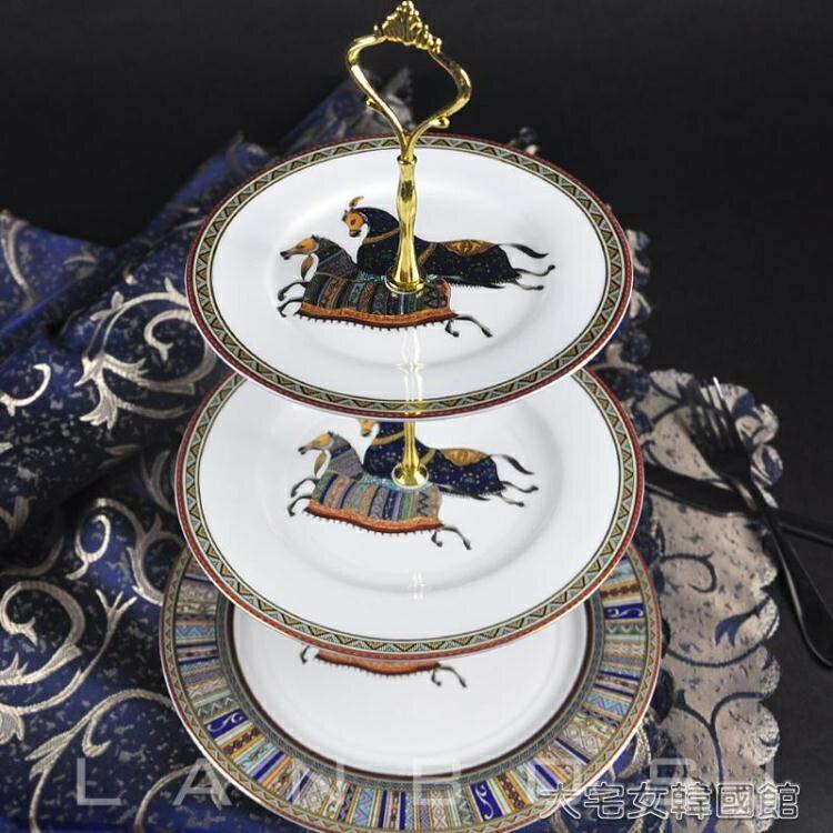 蛋糕架歐式水果盤創意陶瓷蛋糕盤糕糖果盤英式下午茶三層點心架雙層【快速出貨】 雙12購物節