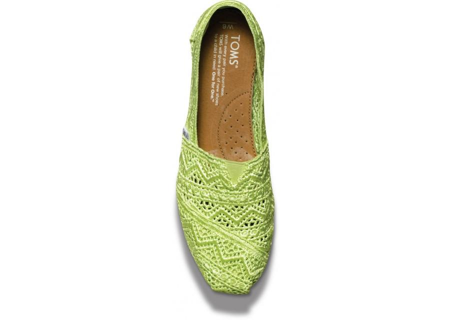 【TOMS】果綠色蕾絲鏤空繡花平底休閒鞋  Neon Lime Crochet Women's Classics 3