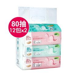 【Nac Nac】 超純水濕巾(80抽12包x2)(箱購)-米菲寶貝