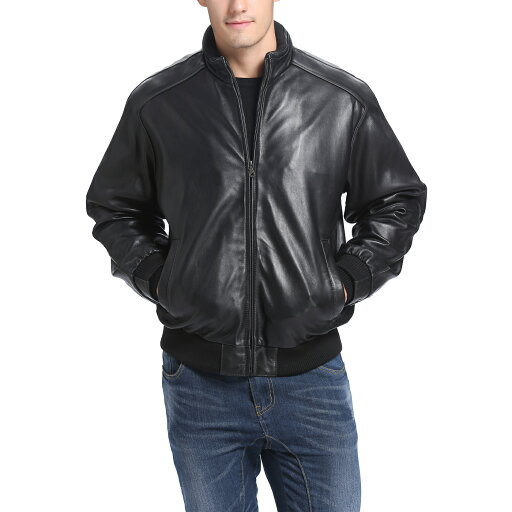 BGSD Men's Lambskin Leather Bomber Jacket 23c68724c994065c3b3e30911f80163a