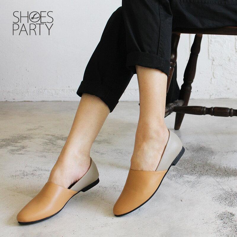 【C2-18805L】雙色拼接真皮平底便鞋_Shoes Party 3