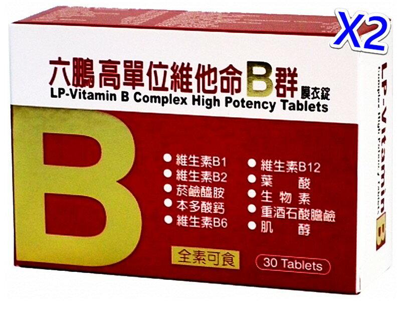 六鵬高單位維他命B群膜衣錠(30錠/盒)x2/贈品:旅行組