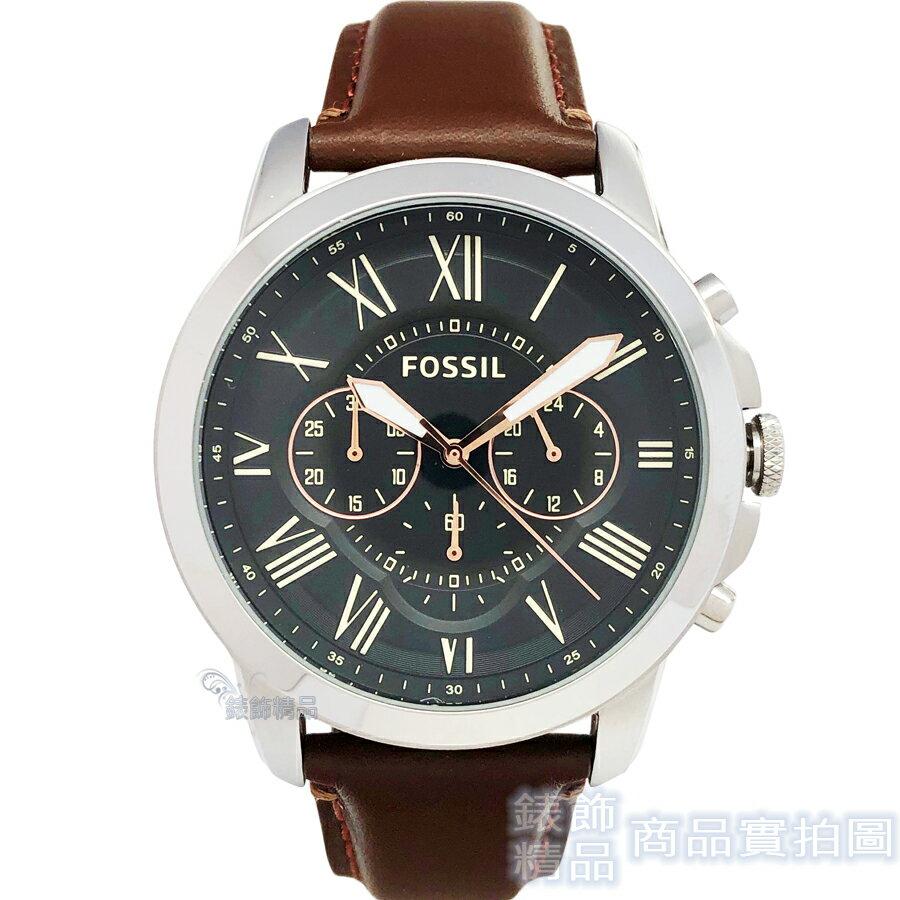FOSSIL 手錶 FS4813 IE 羅馬時標 三眼計時 黑面 咖啡色錶帶44mm 男錶【錶飾精品】