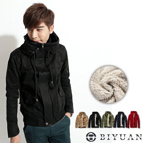 有加大尺碼【F8212】OBI YUAN 韓版內裡絨毛太空領軍裝外套/短大衣共4色
